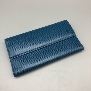 Authentic Louis Vuitton blue epi leather wallet